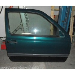 Tür rechts VW Golf 3 GT grün LC6V mit Scheibe Griff